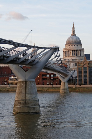 millennium bridge: London Millennium Footbridge and Saint Pauls Cathedral Stock Photo