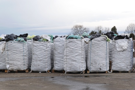 Big bags of sorted material for recycling Stock Photo