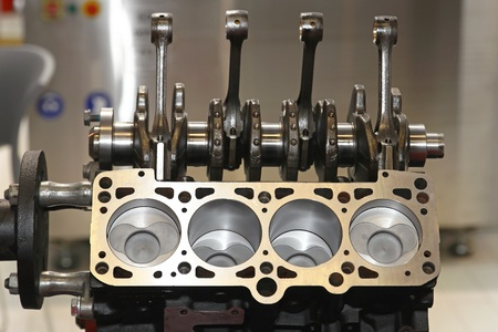 crankshaft: Open engine block and crankshaft in service garage