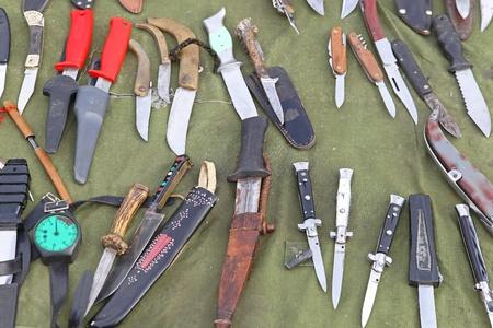 pocket knife: Big variety of knife blades and knives Stock Photo