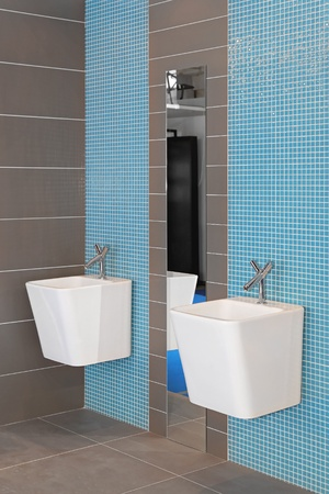 double sink: Two ceramic sinks in contemporary home bathroom