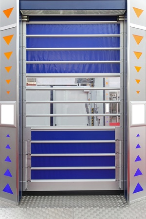 Automated roll door at distribution warehouse photo