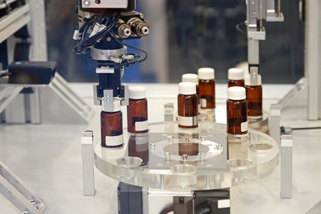 drug control: Drug manufacturing production process in pharmaceutical factory
