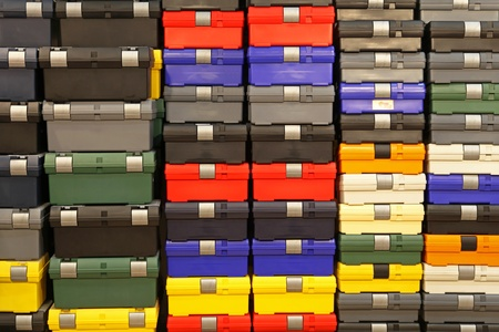 plastic box: Big bunch of colorful plastic tool boxes Stock Photo
