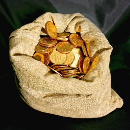 Money sack bag with golden coins savings photo