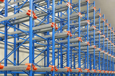 Pallet shelving system in distribution warehouse