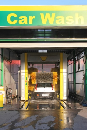 Automated car wash service at gas station