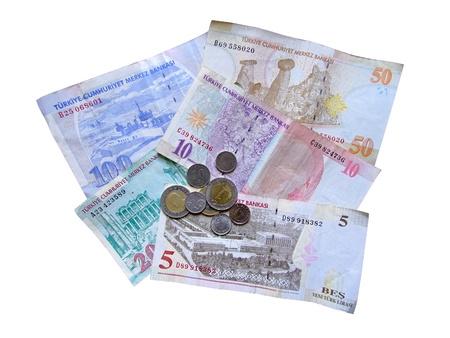 turkish lira: Turkish lira money isolated at white background Stock Photo