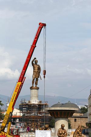 erecting: SKOPJE, MACEDONIA - SEPTEMBER 17  Karpos Monument in Skopje on SEPTEMBER 17, 2012  Erecting Karpos Monument construction site in Skopje, Macedonia
