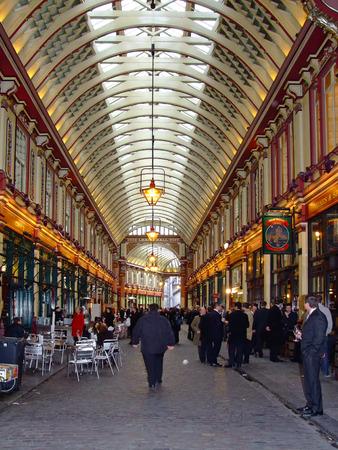corridors: LONDON, ENGLAND - FEBRUARY 02  Leadenhall market in London on FEBRUARY 02, 2007  Medieval corridors of Leadenhall market in London, England  Editorial