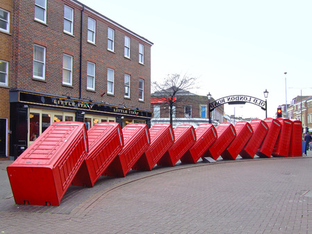 out of order: LONDON, ENGLAND - JANUARY 29  Out of Order sculpture in London on JANUARY 29, 2007  Sculpture Out of Order in Old London Road in Kingston upon Thames in London, England  Editorial