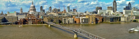 millennium bridge: Millennium Bridge over Thames River in London panorama