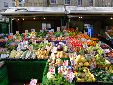 Fruits and vegetables at farmers market in London photo