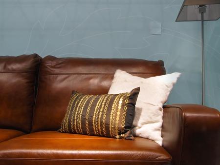 brown leather sofa: Due cuscini decorativi di divano in pelle marrone Archivio Fotografico