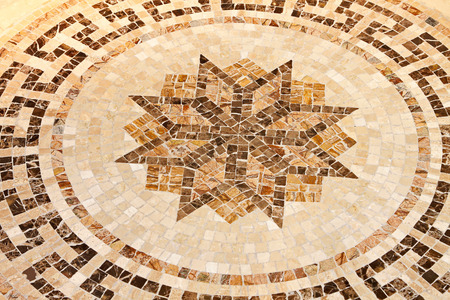 mosaic floor: Marble floor mosaic with octagonal star shape