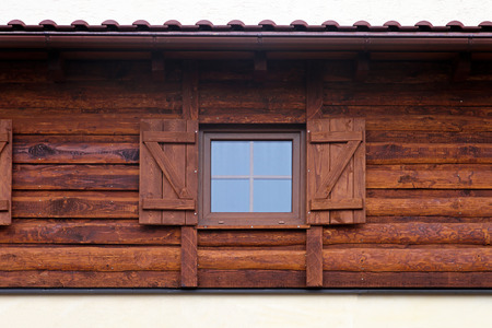 log cabin: Window with blinds at Bavarian log cabin