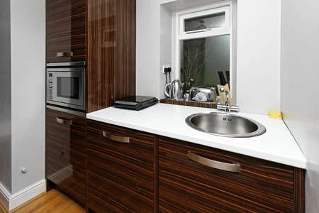 Kitchen with contemporary cabinet and microwave oven photo