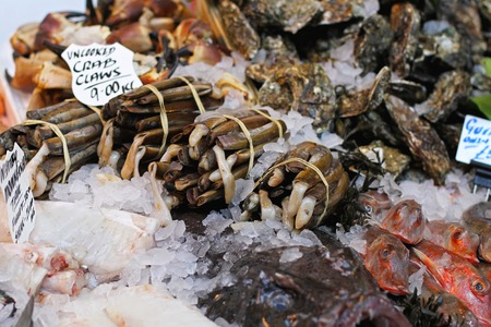 mollusc: Razor clams and shells at fish market