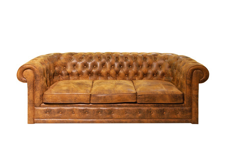 old sofa: Brown leather Chesterfield sofa isolated