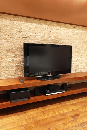 tv stand: Floating stand for TV and media