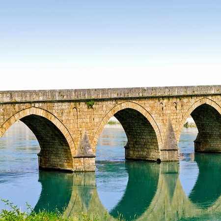 visegrad: Mehmed Pasha Sokolovic old Ottoman bridge in Visegrad Stock Photo