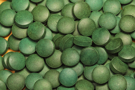 algae: Natural organic green algae Spirulina tablets