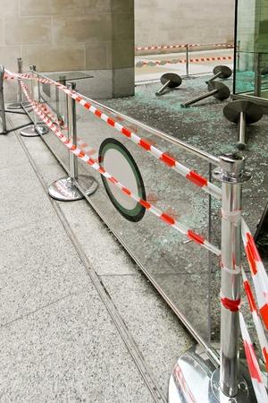 vandalism: Crime scene with destruction after vandalism damage Stock Photo