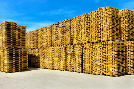 Wooden pallets for cargo and logistic at storehouse photo