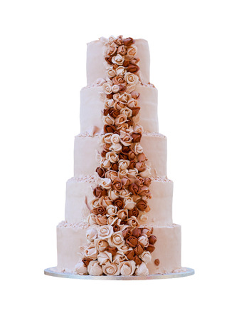 big five: Big cinque negozio di torta nuziale con decorazione di rose Archivio Fotografico