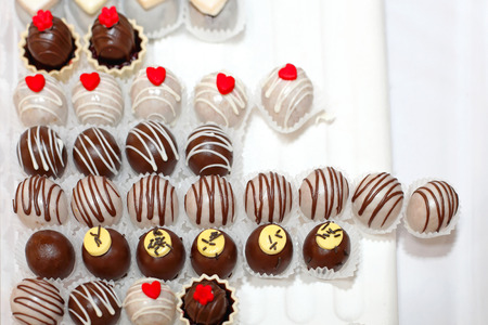 cake ball: Small ball sweet praline chocolates variety