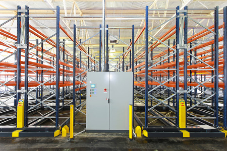 control box: Control box of mobile shelving system in warehouse Stock Photo