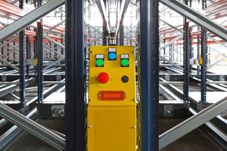 Power control of mobile shelving system in warehouse photo