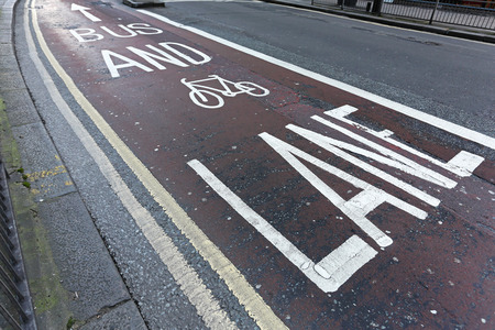 bicycle lane: Shared bus and bicycle lane in London Stock Photo