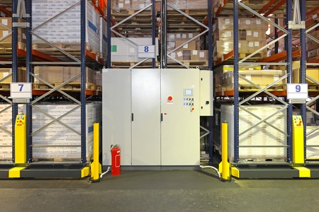 Control box of mobile shelving system in warehouse photo