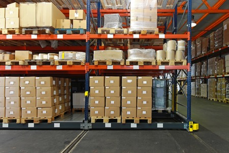 Distribution warehouse with mobile shelving system photo