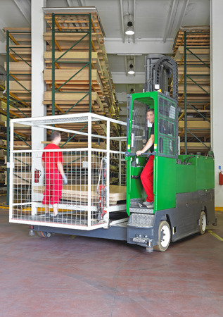 Side loader forklift for the material handling industry photo