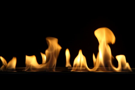 firebox: Oil burning fire with flames Stock Photo