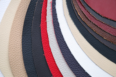 genuine leather: Leather swatch in various colors for furniture industry