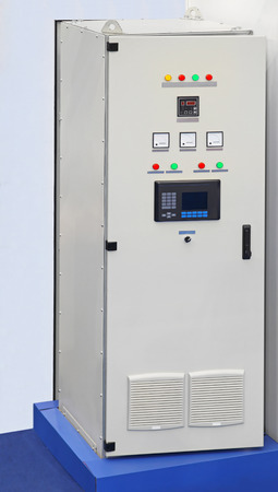 Big industrial voltage regulator control box Stock Photo