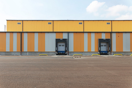Two ramps for loading trucks at distribution centre photo