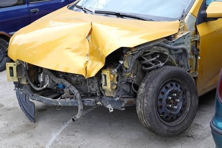 bended: Bended metal damage after car crash collision