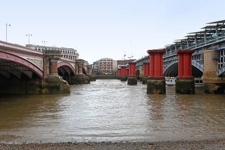 blackfriars bridge: Remain columns from old Blackfriars Bridge in London Stock Photo