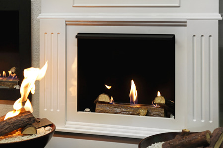 firebox: Open style fire place in modern home