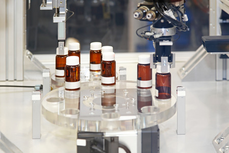 Drug manufacturing production process in pharmaceutical factory photo