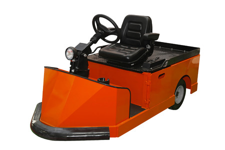 tow tractor: Orange tug tow tractor for material handling isolated