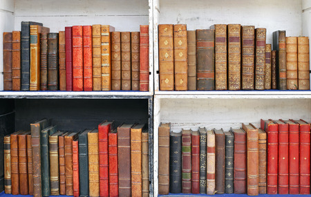 Bookcase: Antique books in wooden bookcases