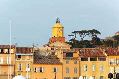saint tropez: Clock and bell tower at church in Saint Tropez
