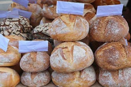 artisan bakery: Artisan bread loaf at bakery shelf Stock Photo