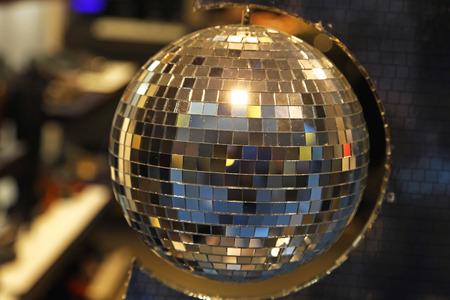 disco lights: Retro style mirrored disco ball Stock Photo