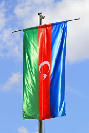 tricolour: Silk flag of Azebaijan tricolour with crescant Stock Photo